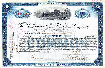 1903 stock certificate of the Baltimore and Ohio Railroad (Photo credit: Wikipedia)
