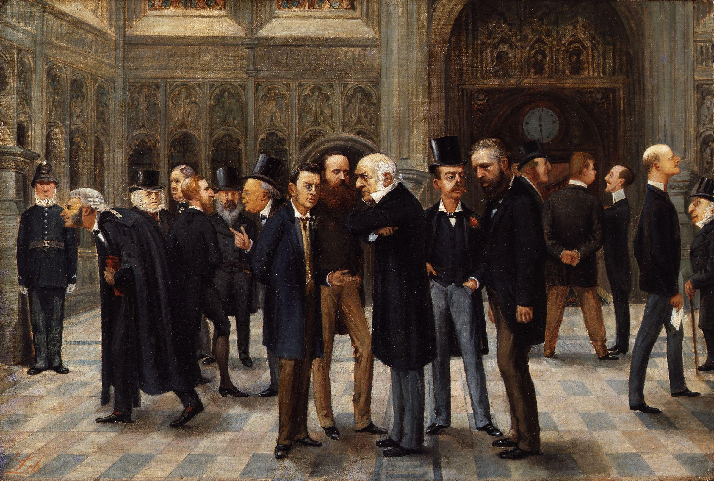 The lobby of the House of Commons. Painting 1886 by Liborio Prosperi.